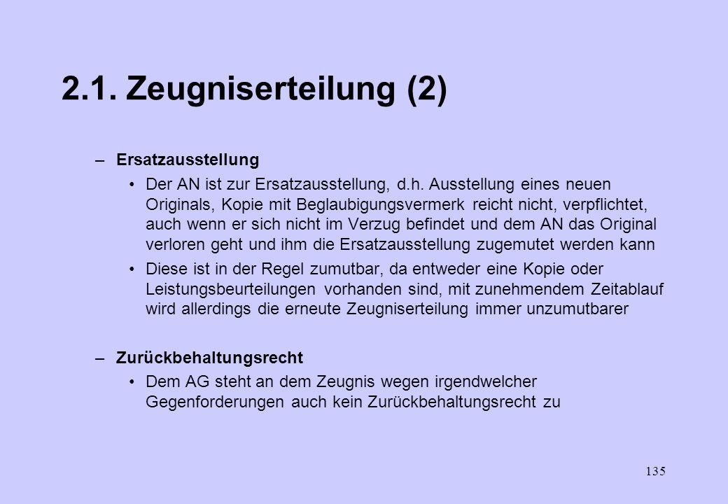 2.1. Zeugniserteilung (2) Ersatzausstellung