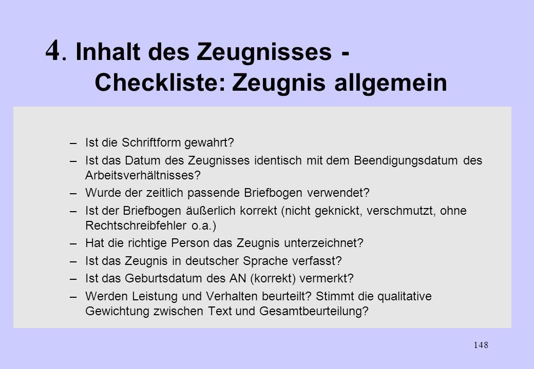 4. Inhalt des Zeugnisses - Checkliste: Zeugnis allgemein