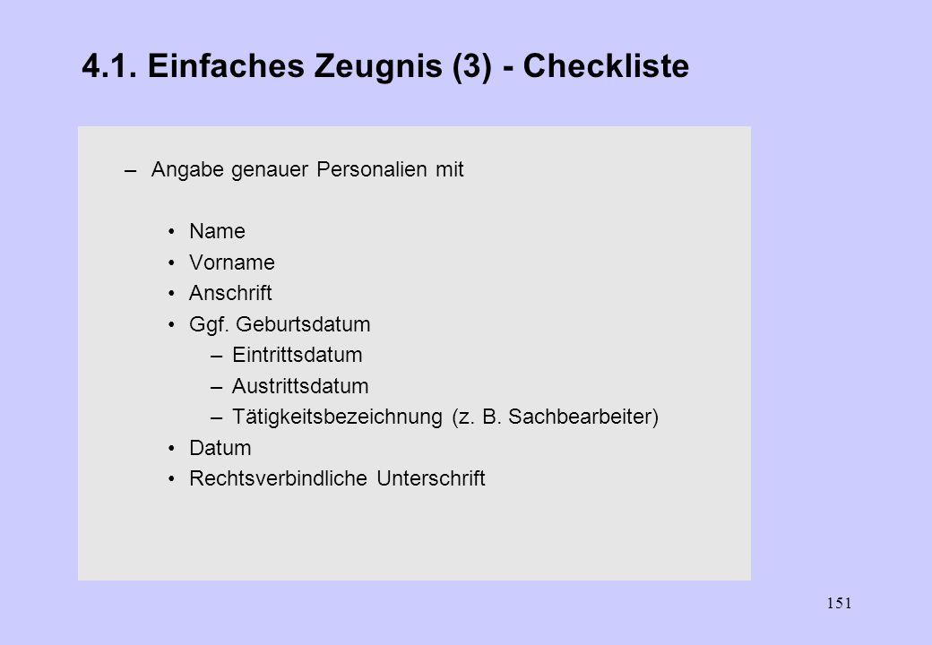 4.1. Einfaches Zeugnis (3) - Checkliste