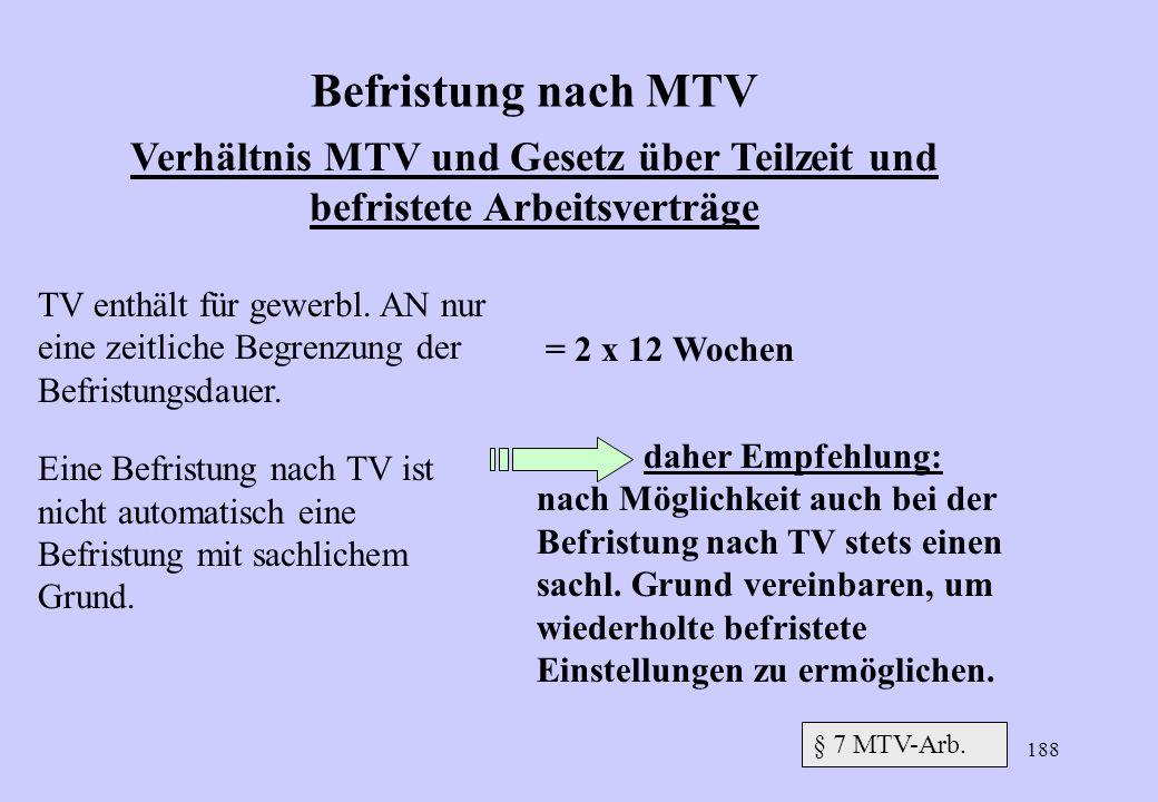 Verhältnis MTV und Gesetz über Teilzeit und befristete Arbeitsverträge