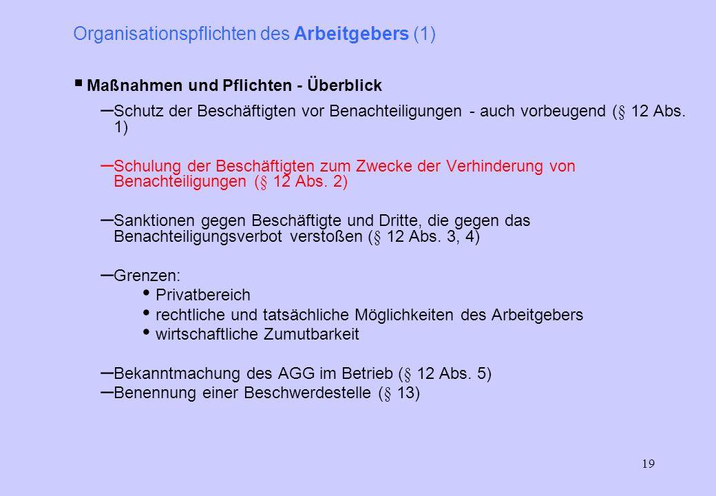 Organisationspflichten des Arbeitgebers (1)