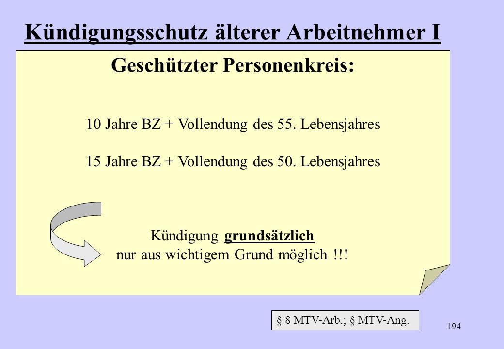 Kündigungsschutz älterer Arbeitnehmer I Geschützter Personenkreis: