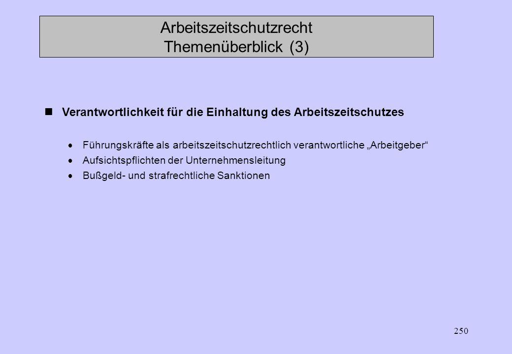 Arbeitszeitschutzrecht Themenüberblick (3)