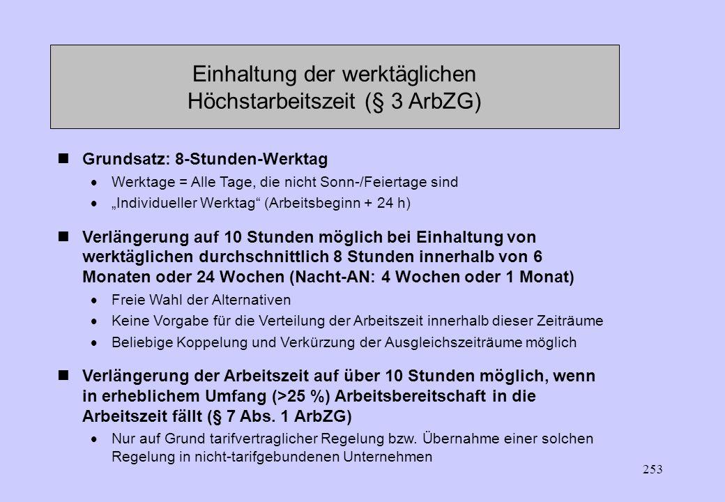 Einhaltung der werktäglichen Höchstarbeitszeit (§ 3 ArbZG)