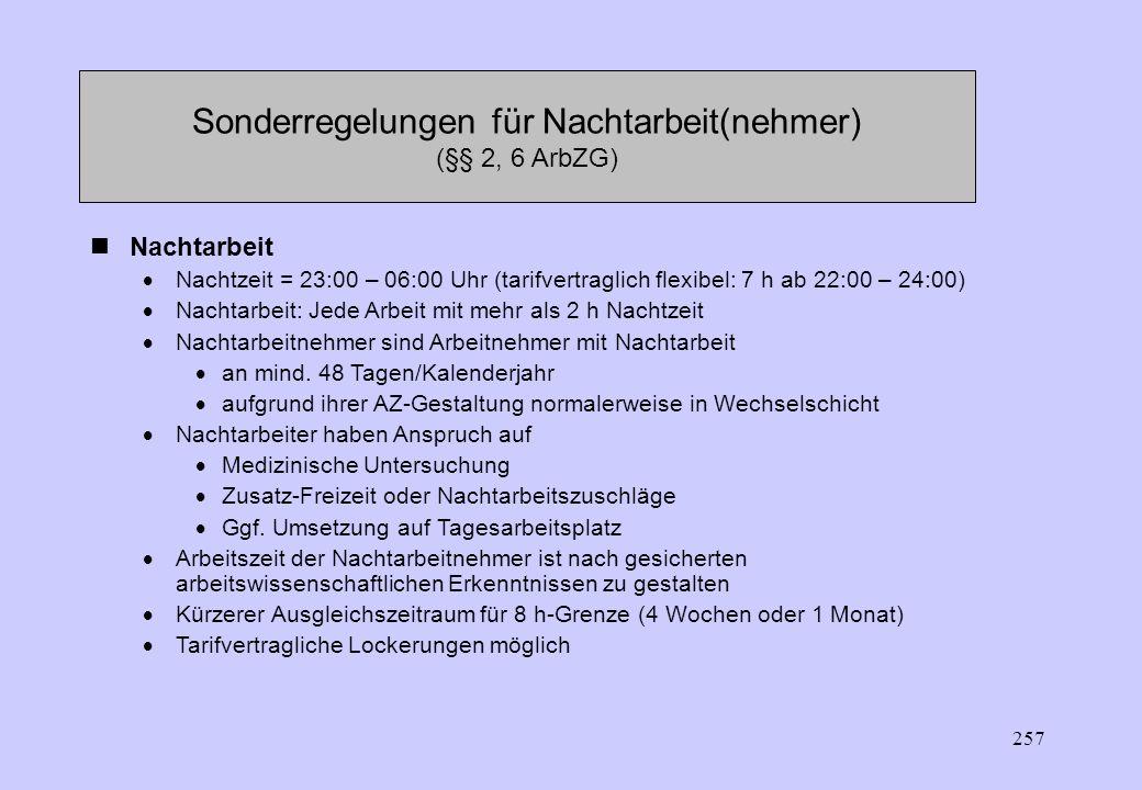 Sonderregelungen für Nachtarbeit(nehmer) (§§ 2, 6 ArbZG)