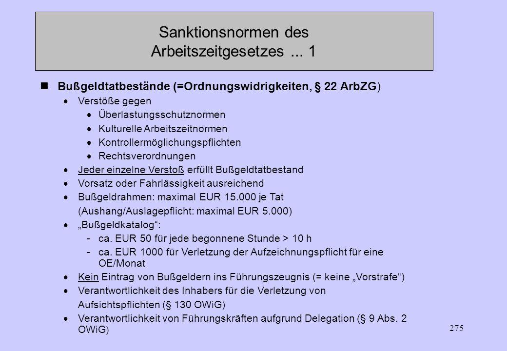 Sanktionsnormen des Arbeitszeitgesetzes ... 1