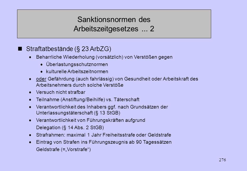 Sanktionsnormen des Arbeitszeitgesetzes ... 2