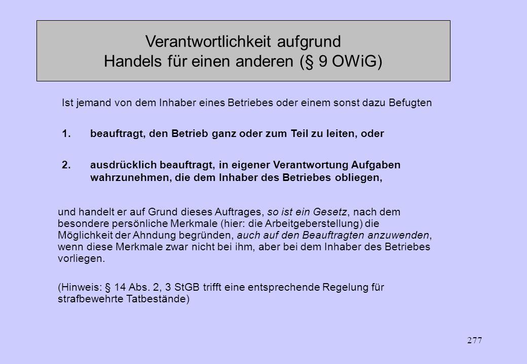 Verantwortlichkeit aufgrund Handels für einen anderen (§ 9 OWiG)