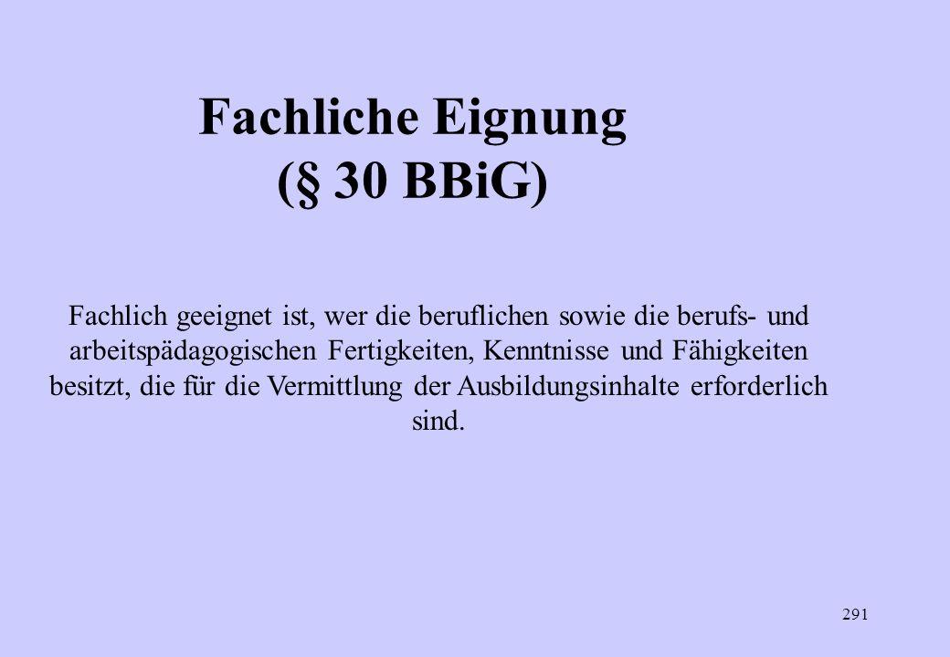 Fachliche Eignung (§ 30 BBiG)