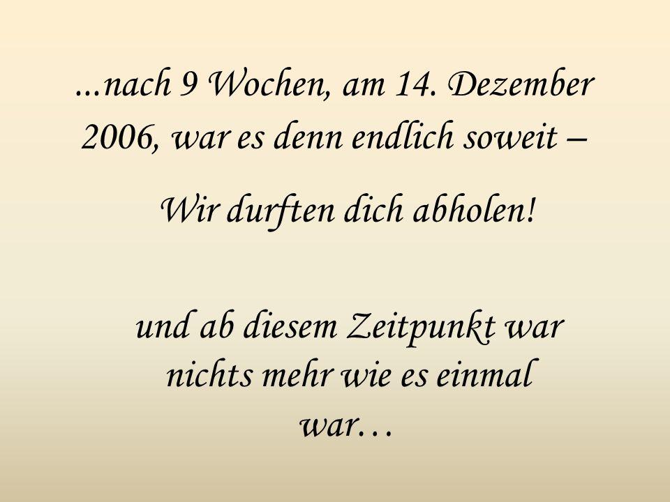 ...nach 9 Wochen, am 14. Dezember 2006, war es denn endlich soweit –
