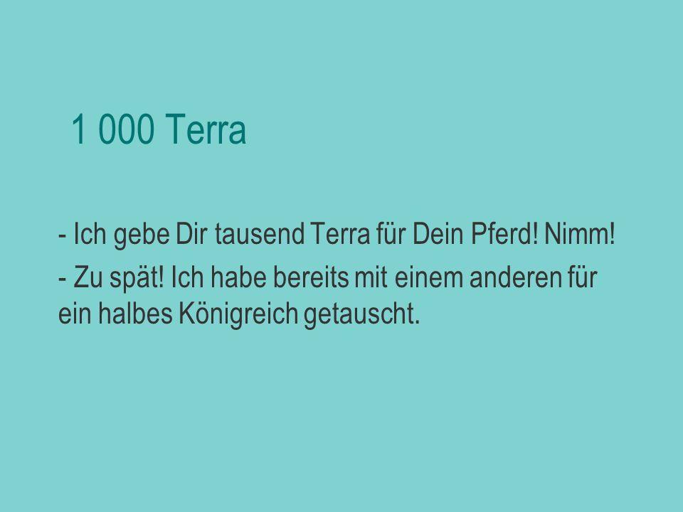 1 000 Terra - Ich gebe Dir tausend Terra für Dein Pferd! Nimm!