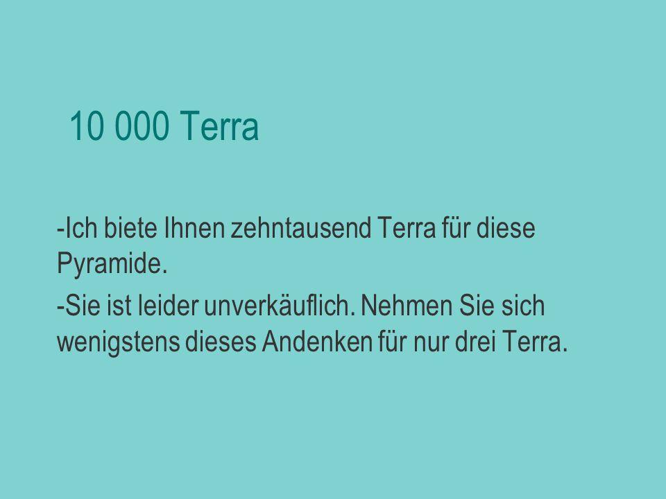 10 000 Terra Ich biete Ihnen zehntausend Terra für diese Pyramide.