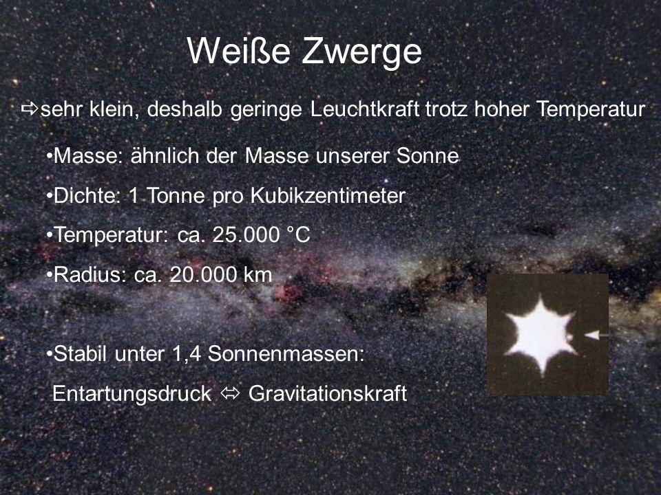 Weiße Zwerge sehr klein, deshalb geringe Leuchtkraft trotz hoher Temperatur. Masse: ähnlich der Masse unserer Sonne.