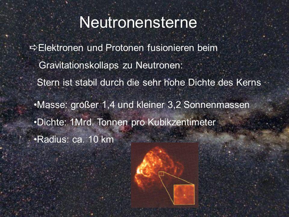 Neutronensterne Elektronen und Protonen fusionieren beim