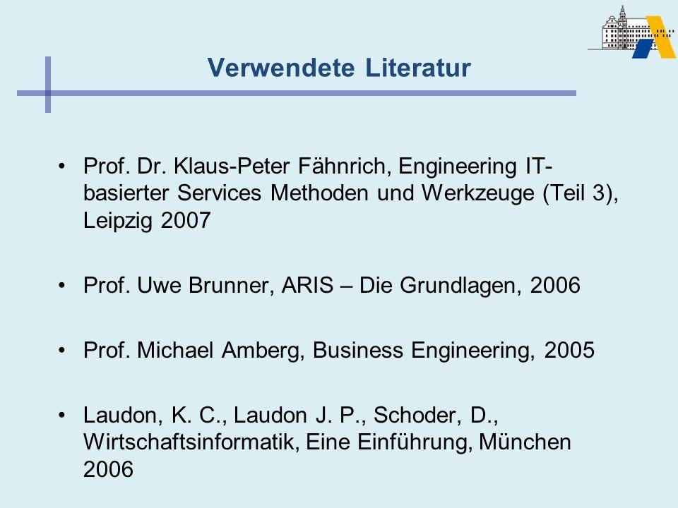 Verwendete Literatur Prof. Dr. Klaus-Peter Fähnrich, Engineering IT-basierter Services Methoden und Werkzeuge (Teil 3), Leipzig 2007.