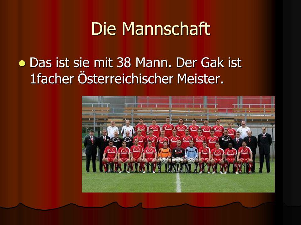 Die Mannschaft Das ist sie mit 38 Mann. Der Gak ist 1facher Österreichischer Meister.