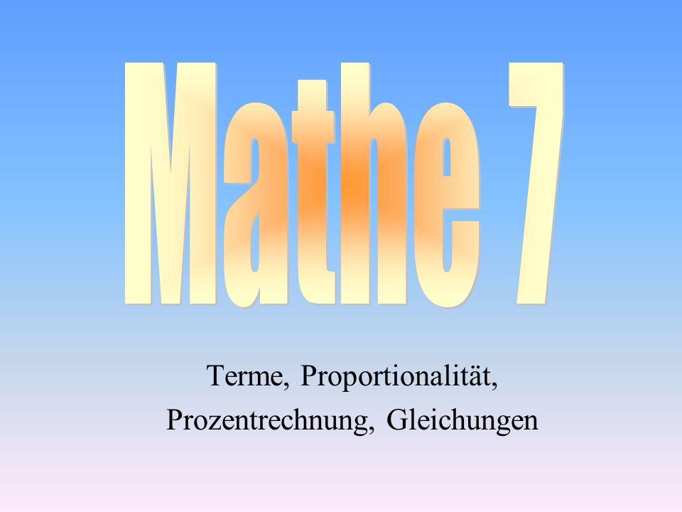 Terme, Proportionalität, Prozentrechnung, Gleichungen