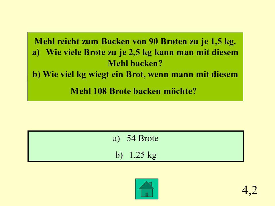 4,2 Mehl reicht zum Backen von 90 Broten zu je 1,5 kg.
