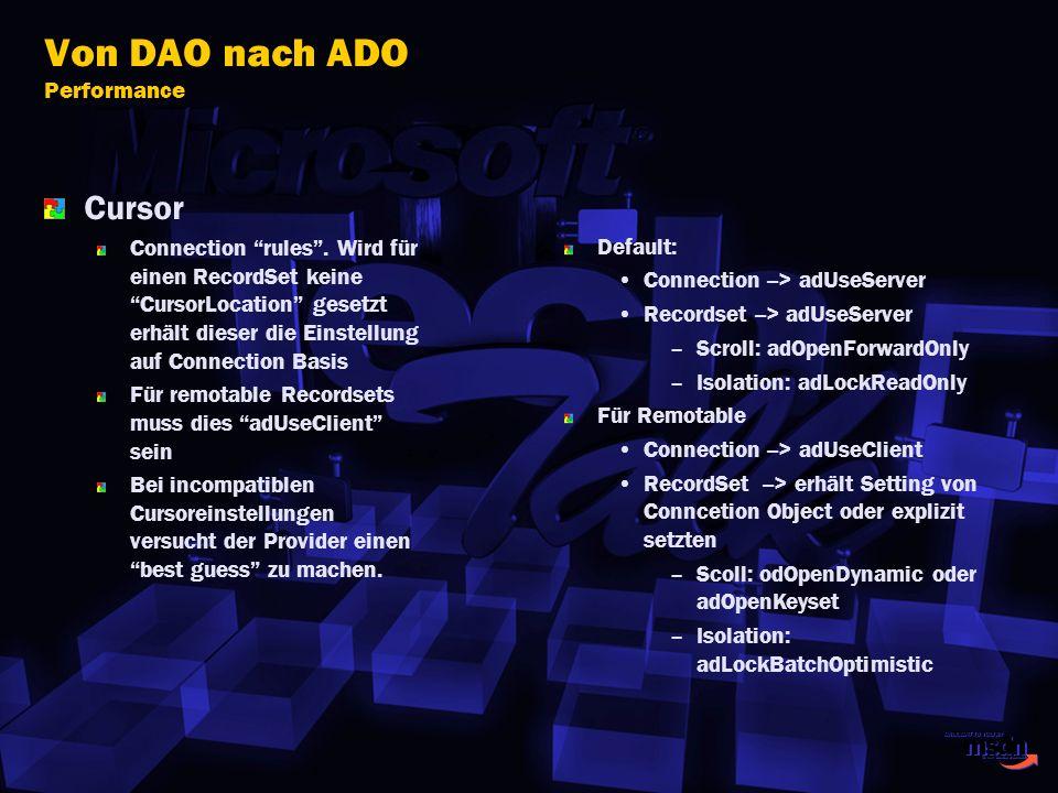 Von DAO nach ADO Performance