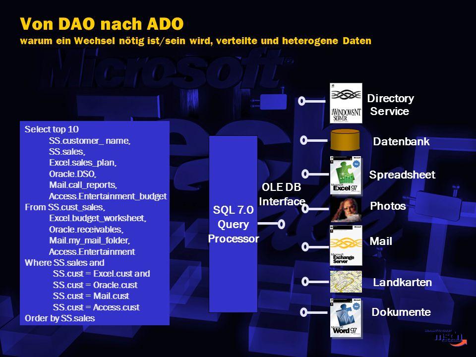 Von DAO nach ADO warum ein Wechsel nötig ist/sein wird, verteilte und heterogene Daten