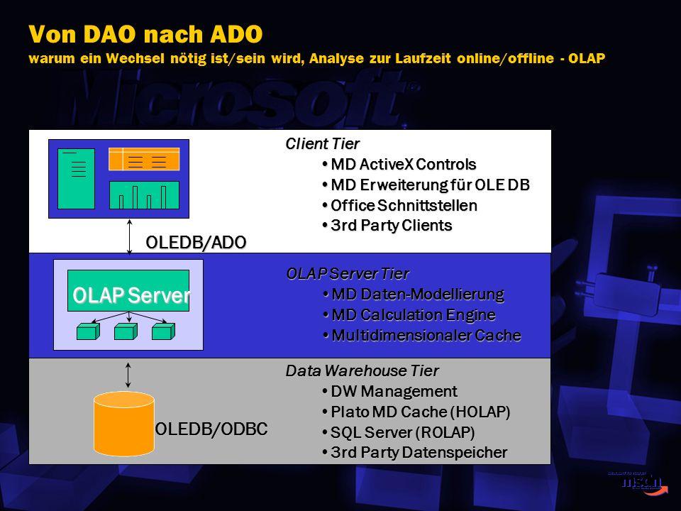 Von DAO nach ADO warum ein Wechsel nötig ist/sein wird, Analyse zur Laufzeit online/offline - OLAP
