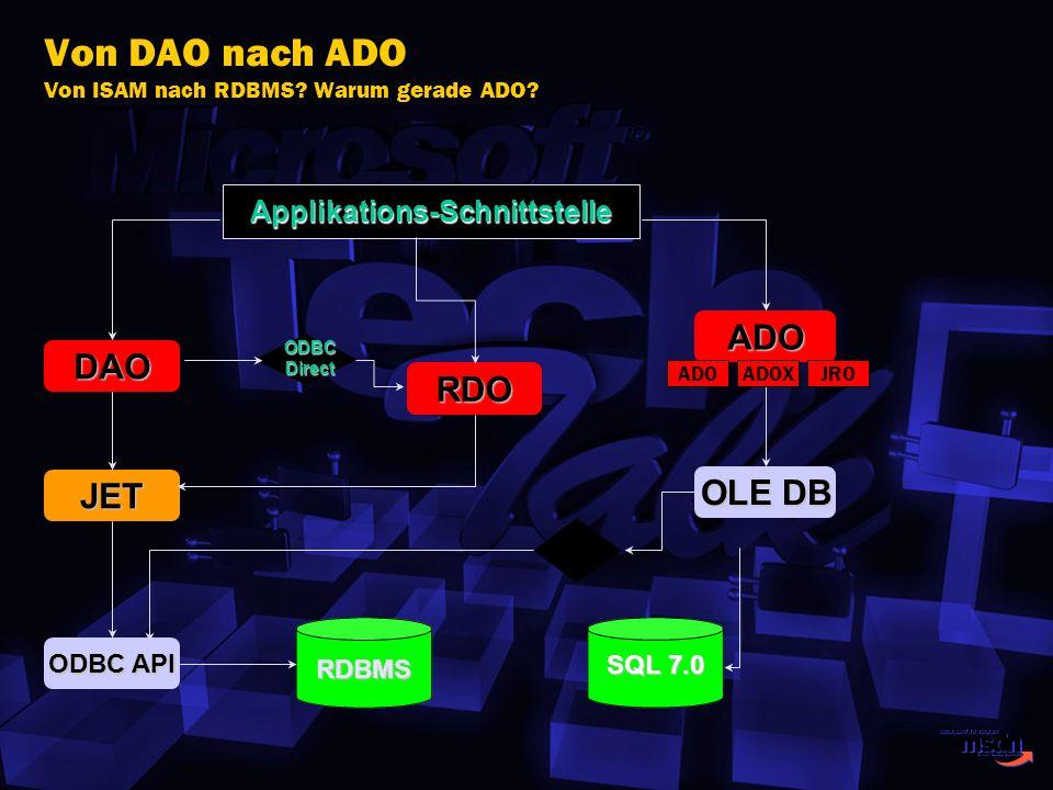Von DAO nach ADO Von ISAM nach RDBMS Warum gerade ADO