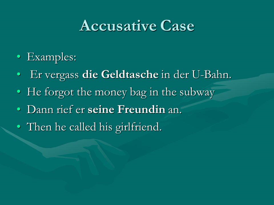 Accusative Case Examples: Er vergass die Geldtasche in der U-Bahn.