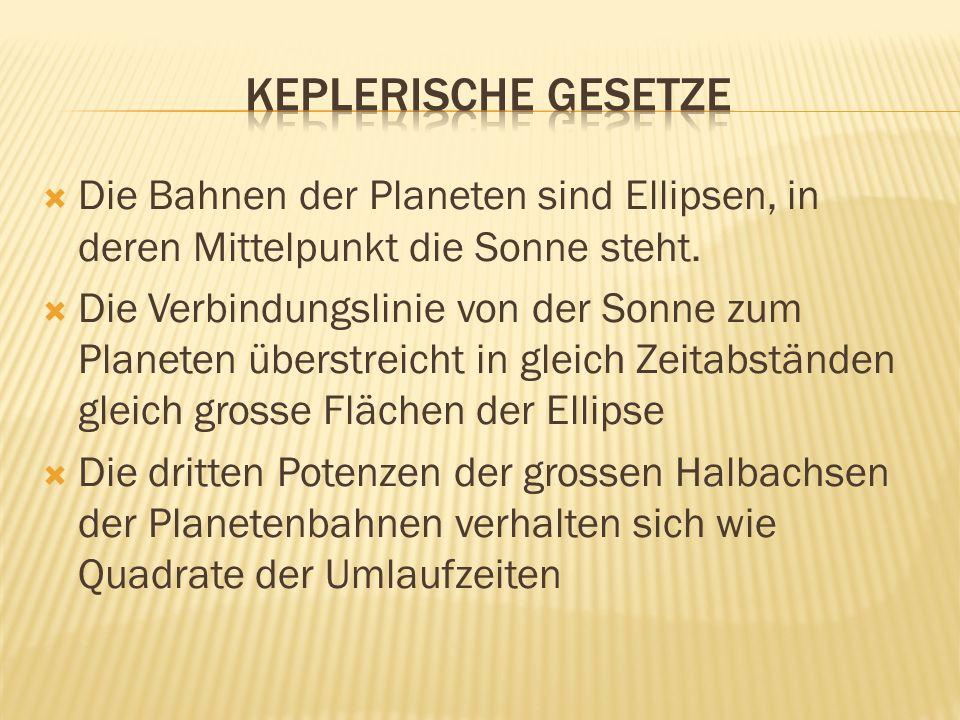 Keplerische gesetze Die Bahnen der Planeten sind Ellipsen, in deren Mittelpunkt die Sonne steht.