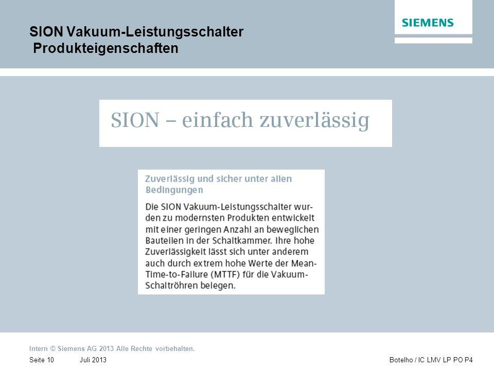 SION Vakuum-Leistungsschalter Produkteigenschaften