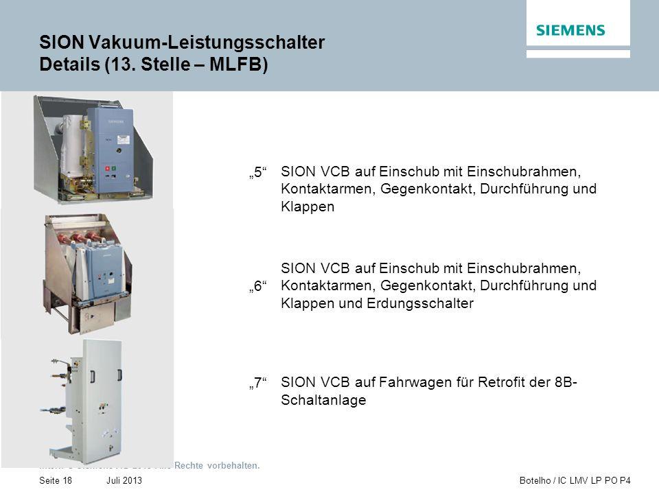 SION Vakuum-Leistungsschalter Details (13. Stelle – MLFB)