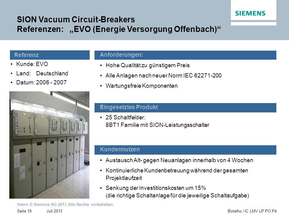 "SION Vacuum Circuit-Breakers Referenzen: ""EVO (Energie Versorgung Offenbach)"