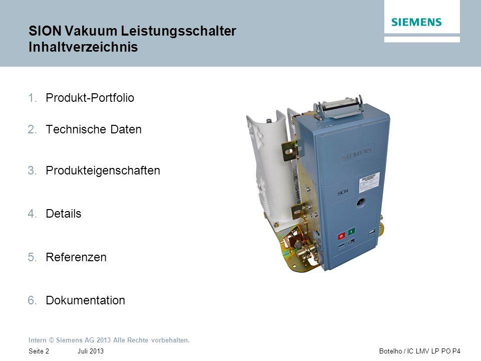 SION Vakuum Leistungsschalter Inhaltverzeichnis