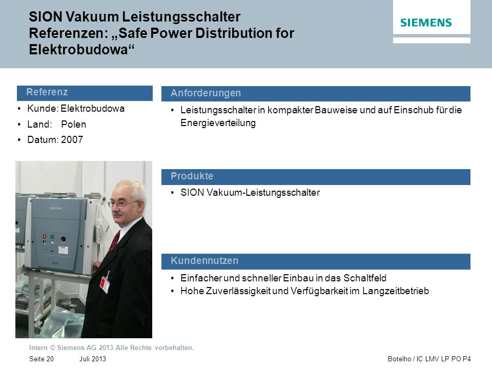 "SION Vakuum Leistungsschalter Referenzen: ""Safe Power Distribution for Elektrobudowa"