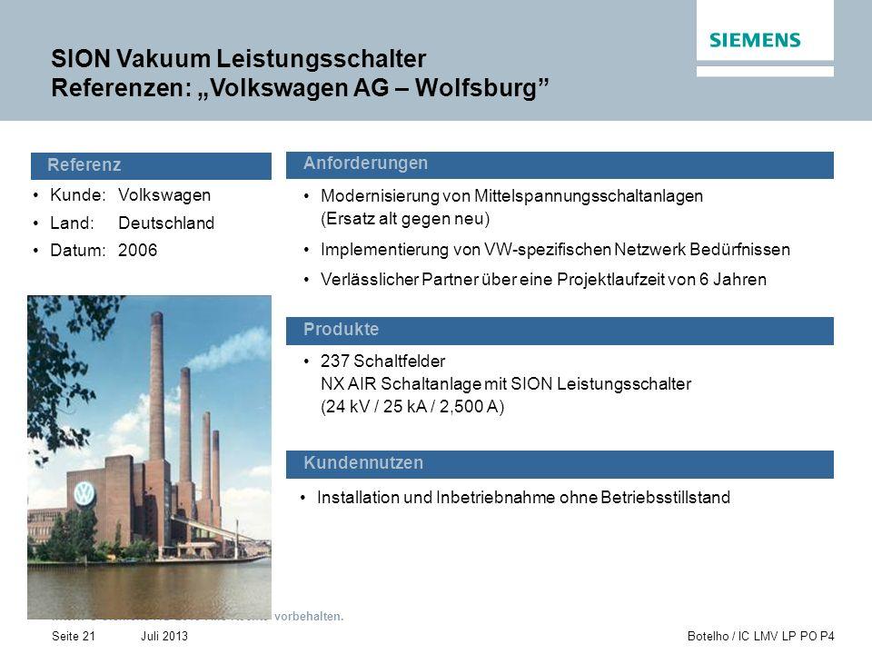 """SION Vakuum Leistungsschalter Referenzen: """"Volkswagen AG – Wolfsburg"""