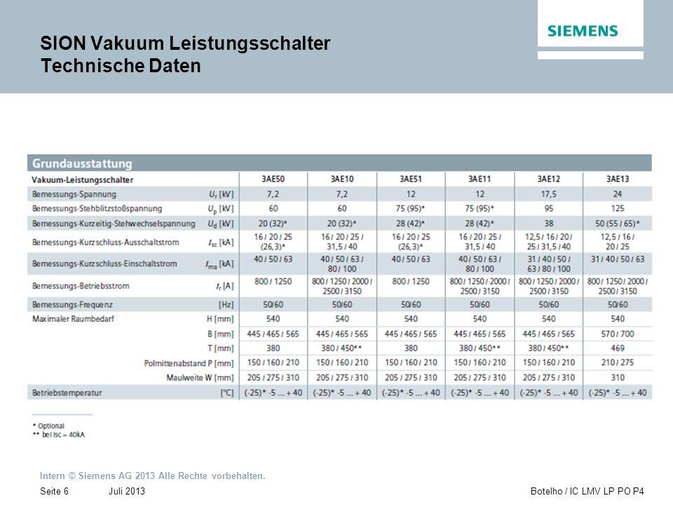 SION Vakuum Leistungsschalter Technische Daten