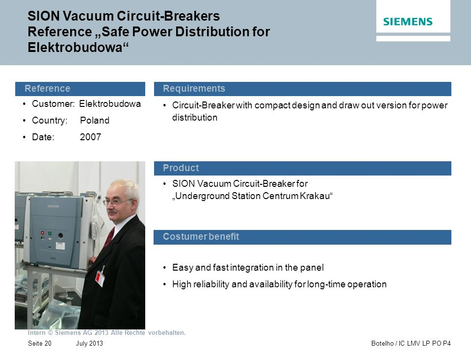 "SION Vacuum Circuit-Breakers Reference ""Safe Power Distribution for Elektrobudowa"