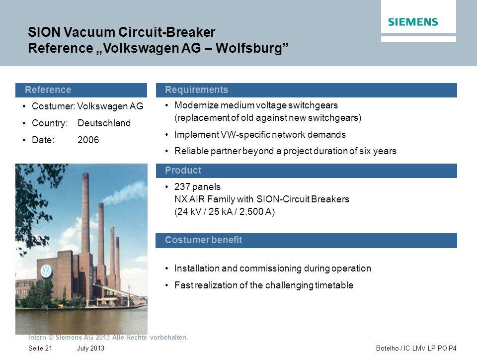 "SION Vacuum Circuit-Breaker Reference ""Volkswagen AG – Wolfsburg"