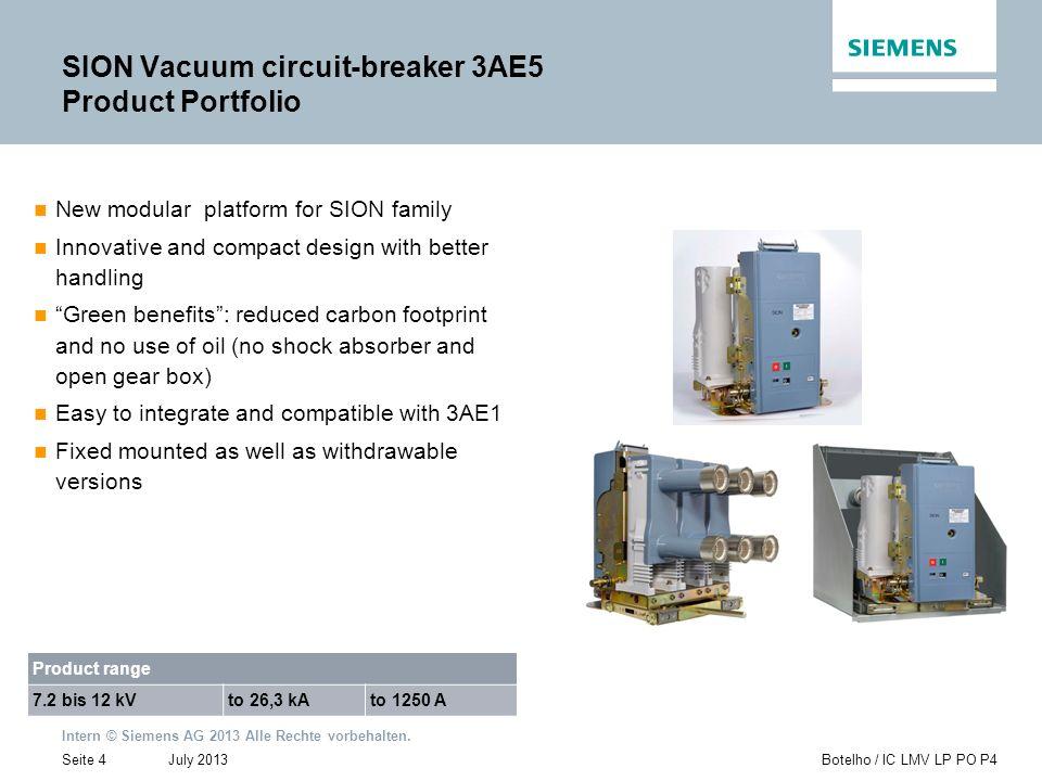 SION Vacuum circuit-breaker 3AE5 Product Portfolio