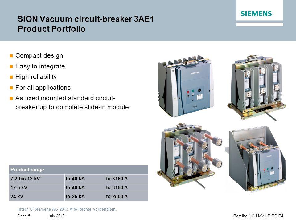 SION Vacuum circuit-breaker 3AE1 Product Portfolio