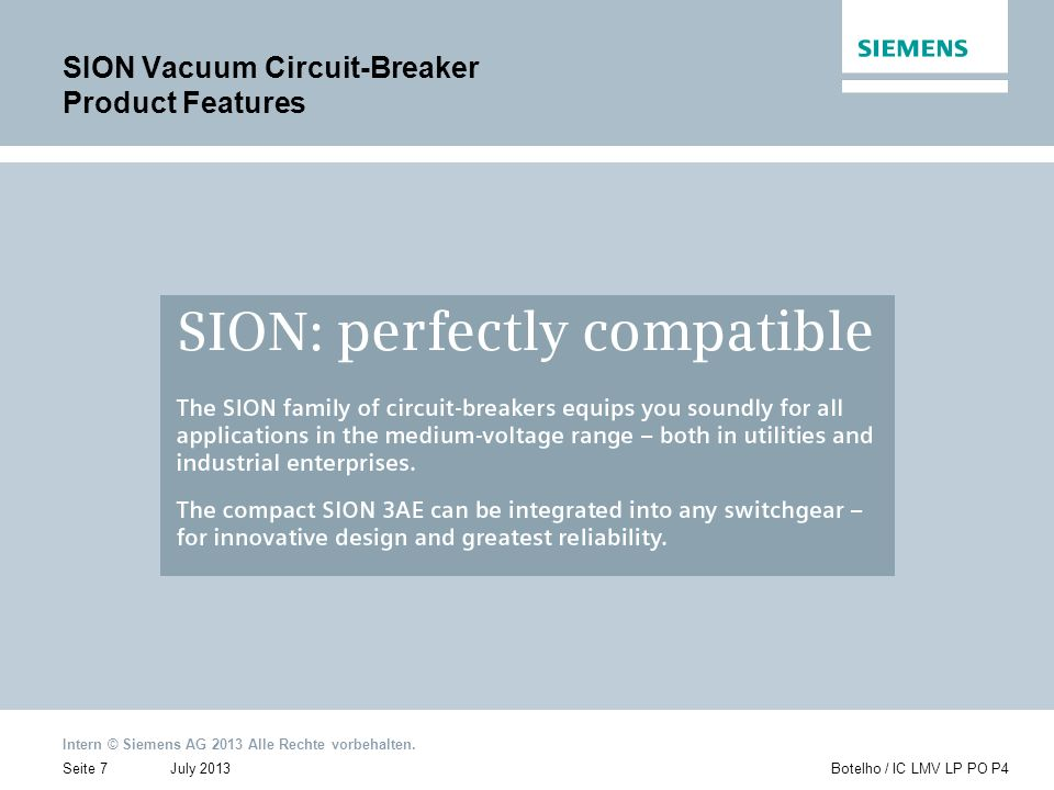 SION Vacuum Circuit-Breaker Product Features