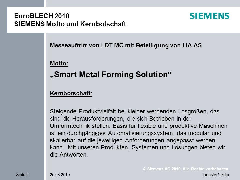 EuroBLECH 2010 SIEMENS Motto und Kernbotschaft