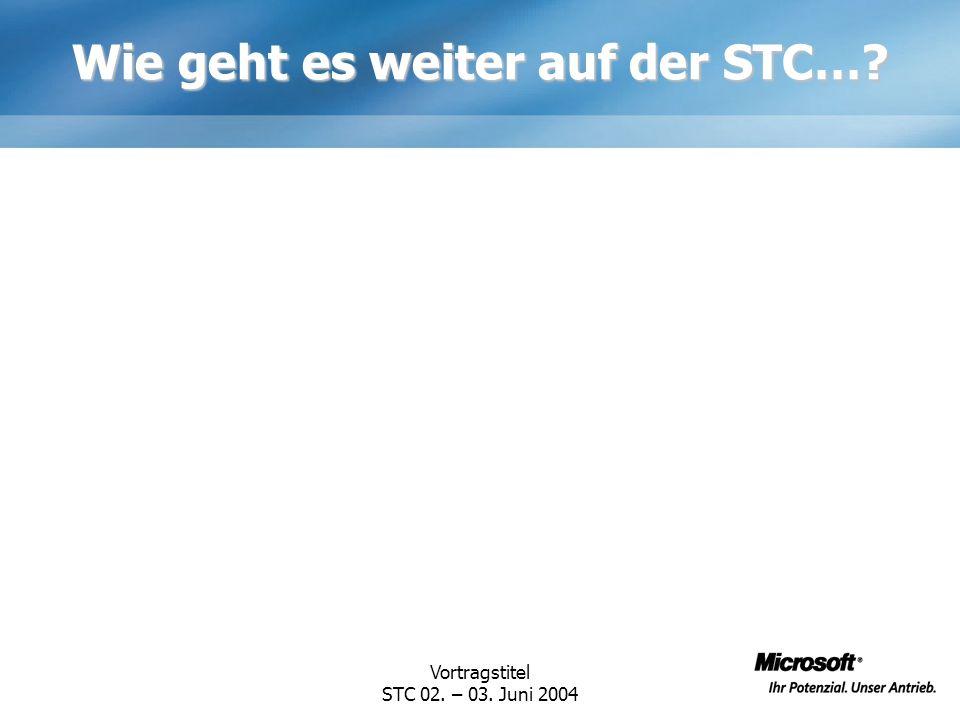 Wie geht es weiter auf der STC…