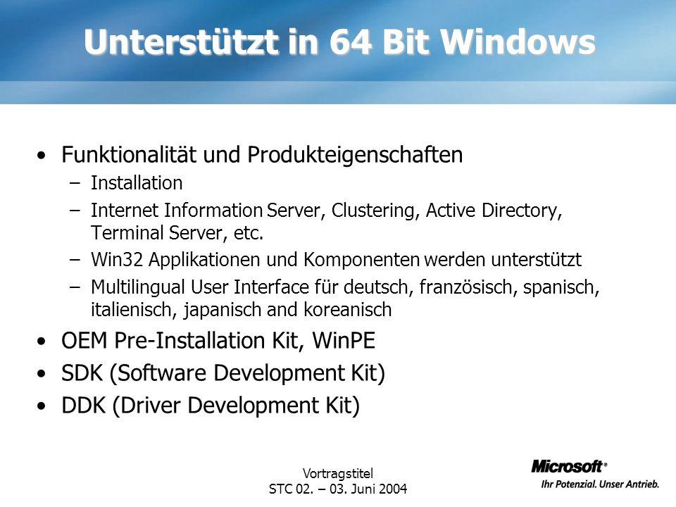 Unterstützt in 64 Bit Windows
