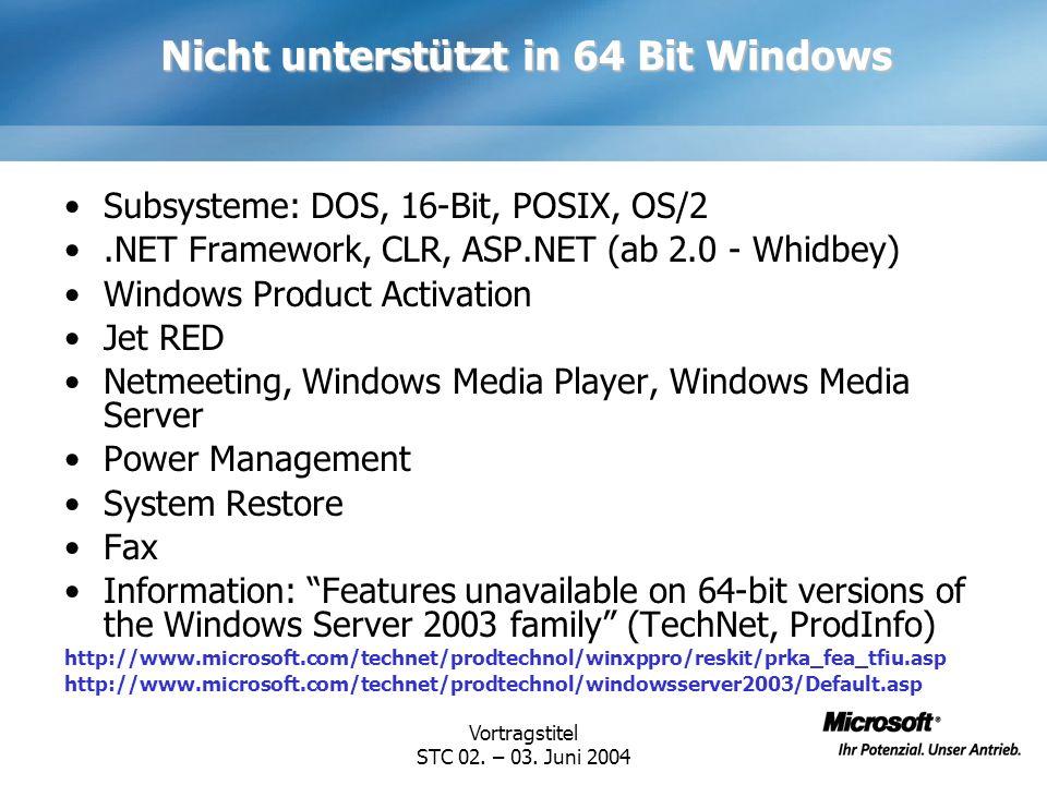 Nicht unterstützt in 64 Bit Windows