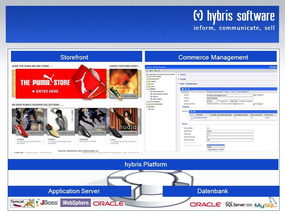 Storefront Commerce Management hybris Platform Application Server