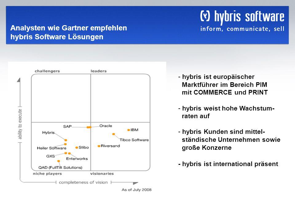 Analysten wie Gartner empfehlen hybris Software Lösungen