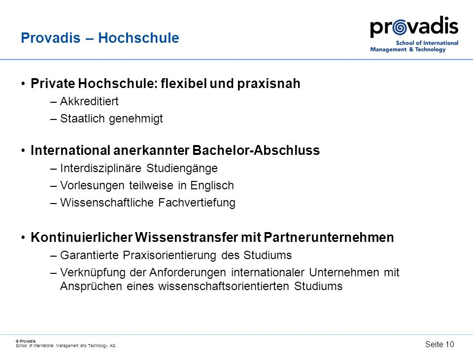 Provadis – Hochschule Private Hochschule: flexibel und praxisnah