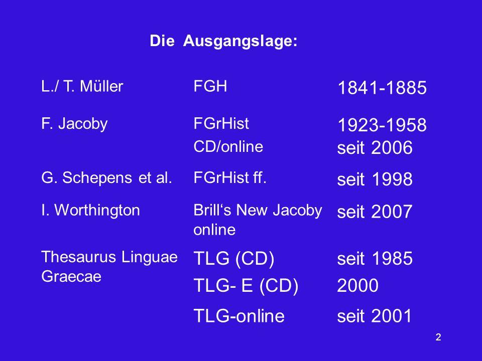 1841-1885 1923-1958 seit 2006 seit 1998 seit 2007 TLG (CD) TLG- E (CD)