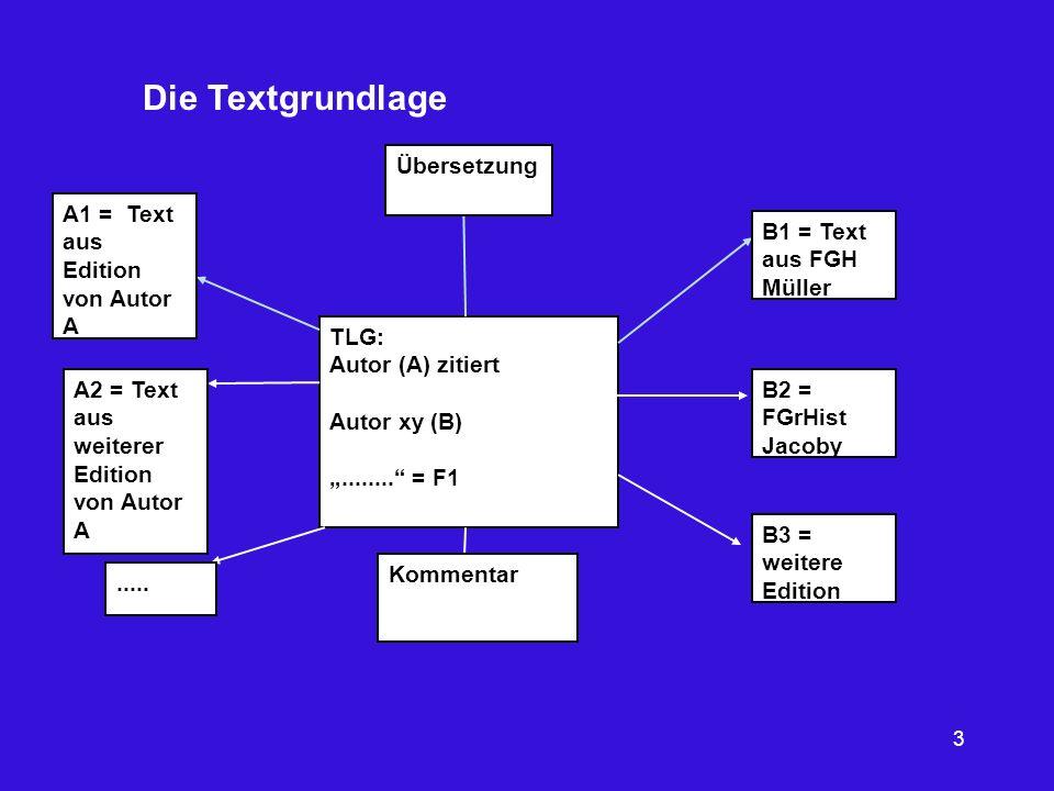 Die Textgrundlage Übersetzung A1 = Text aus Edition von Autor A
