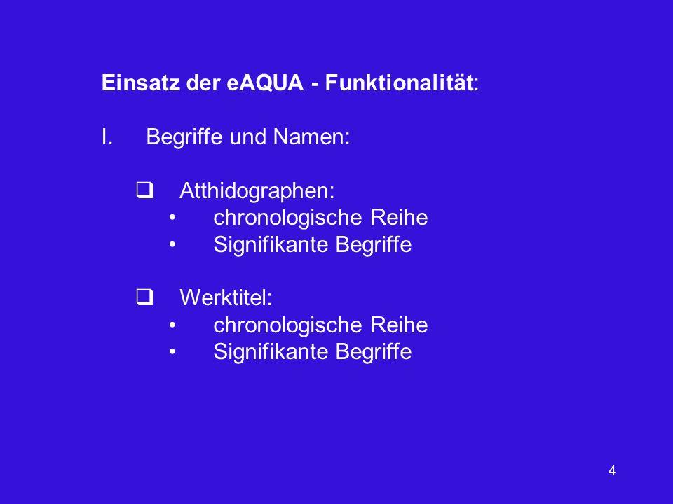 Einsatz der eAQUA - Funktionalität: